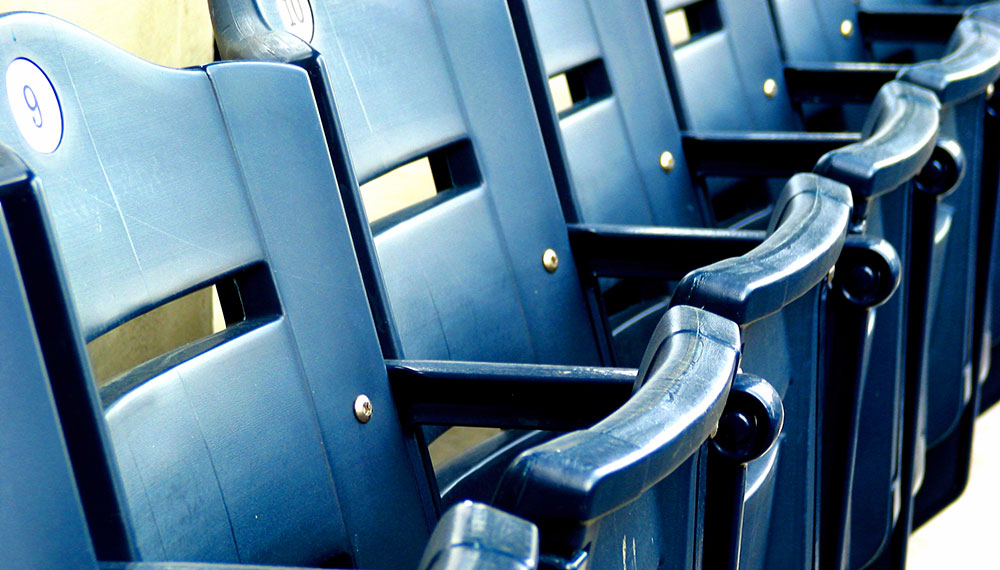 Unoccupied row of Stadium seats